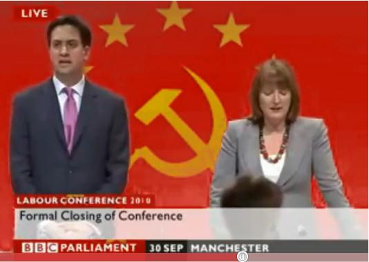 Miliband and Harman in front of hammber and sickle
